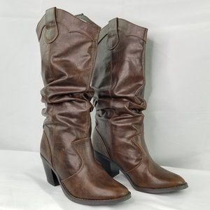 Soda ~ Slouchy Cowgirl Inspired Brown Boots